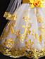 זול שמלות לבנות-שמלה מעל הברך שרוול ארוך תחרה / חרוזים / רשת פרחוני פעיל / סגנון חמוד בנות ילדים
