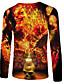 billige T-skjorter og singleter til herrer-Rund hals EU / USA størrelse T-skjorte Herre - Ensfarget / 3D / Hodeskaller, Trykt mønster Oransje / Langermet