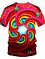 baratos Camisetas & Regatas Masculinas-Homens Camiseta Moda de Rua / Exagerado Estampado, Estampa Colorida / 3D / Gráfico Vermelho
