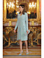 cheap Mother of the Bride Dresses-Sheath / Column Scoop Neck Knee Length Lace / Satin Long Sleeve Mother of the Bride Dress with Lace Mother's Day 2020