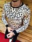 billige T-skjorter og singleter til herrer-Rund hals EU / USA størrelse T-skjorte Herre - Leopard Hvit / Langermet