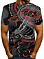 Χαμηλού Κόστους Ανδρικά μπλουζάκια και φανελάκια-Ανδρικά Μέγεθος EU / US T-shirt Κλαμπ Κομψό στυλ street / Εξωγκωμένος 3D / Ζώο / Tribal Στρογγυλή Λαιμόκοψη Στάμπα Μαύρο / Κοντομάνικο