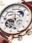 Χαμηλού Κόστους Μηχανικά Ρολόγια-KINYUED Ανδρικά Διάφανο Ρολόι μηχανικό ρολόι Swiss Μηχανικό κούρδισμα Γνήσιο δέρμα Μαύρο / Καφέ 30 m Ανθεκτικό στο Νερό Φάση Σελήνης Tourbillon Αναλογικό Πολυτέλεια Κλασσικό Καθημερινό Μοντέρνα -