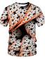 billige T-skjorter og singleter til herrer-Rund hals EU / USA størrelse T-skjorte Herre - Fargeblokk / 3D / Grafisk, Trykt mønster Gatemote / overdrevet Klubb Hvit / Kortermet
