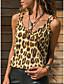 Χαμηλού Κόστους Women's Tanks & Camisoles-Γυναικεία Αμάνικη Μπλούζα Βασικό Λεοπάρ Λαιμόκοψη V Κίτρινο
