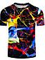 billige T-skjorter og singleter til herrer-Rund hals Store størrelser T-skjorte Herre - 3D, Lapper Regnbue / Kortermet