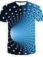 cheap Men's Tees & Tank Tops-Men's Daily Wear Bar Street chic / Punk & Gothic T-shirt - Striped / Color Block Print Round Neck Blue / Short Sleeve