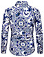 baratos Camisas Masculinas-Homens Camisa Social Temática Asiática / Elegante Estampado, Floral / Estampa Colorida Azul