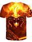 baratos Camisetas & Regatas Masculinas-Homens Camiseta Moda de Rua / Exagerado Estampado, 3D / Animal / Caveiras Laranja