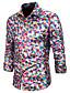 baratos Camisas Masculinas-Homens Camisa Social Básico Estampado, Geométrica Branco Dourado