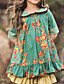 cheap Floral Dresses-Kids Girls' Dress Floral Cotton Half Sleeve Knee-length Cute Dresses Regular Fit Green
