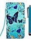 baratos Acessórios para Samsung-Capinha Para Samsung Galaxy S9 / S9 Plus / S8 Plus Carteira / Porta-Cartão / Com Suporte Capa Proteção Completa Borboleta PU Leather