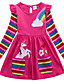 cheap Rainbow Dresses-Kids Girls' Active Casual Unicorn Floral Stripe Rainbow Animal Print Long Sleeve Above Knee Cotton Dress Blue