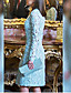 cheap Romantic Lace Dresses-Women's Two Piece Dress - Long Sleeve Solid Color Paisley Lace Formal Style Button Spring Fall Deep V Elegant For Mother / Mom Going out 2020 Light Blue S M L XL XXL XXXL
