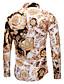 baratos Camisas Masculinas-Homens Tamanho Europeu / Americano Camisa Social Básico Estampado, 3D / Tribal Dourado / Manga Longa