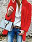 povoljno Ženske kaputi od kože i umjetne kože-Žene Dnevno / Izlasci Jesen zima Veći konfekcijski brojevi Kratak Faux Fur Coat, Jednobojni Rolled collar Dugih rukava Umjetno krzno Crn / Svijetlosiva / Obala