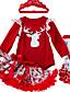 olcso Bébi ruházat-Baba Lány Alap Nyomtatott / Karácsony Hosszú ujj Szokványos Ruházat szett Rubin / Kisgyermek