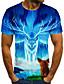 baratos Camisetas & Regatas Masculinas-Homens Camiseta Estampado, 3D Azul