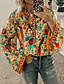 cheap Women's Shirts-Women's Daily Beach Shirt - Geometric / Color Block Orange