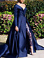 cheap Evening Dresses-A-Line Sexy Blue Prom Formal Evening Dress V Neck Long Sleeve Court Train Lace Satin with Overskirt Split Front 2020