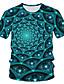 baratos Camisetas & Regatas Masculinas-Homens Camiseta Moda de Rua / Exagerado Estampado, Estampa Colorida / 3D / Gráfico Azul