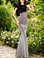 cheap Evening Dresses-Mermaid / Trumpet Elegant Grey Engagement Formal Evening Dress One Shoulder Sleeveless Floor Length Polyester with Ruffles 2020
