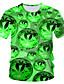 baratos Camisetas & Regatas Masculinas-Homens Camiseta Moda de Rua / Exagerado Estampado, Estampa Colorida / 3D / Gráfico Verde