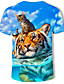 baratos Camisetas & Regatas Masculinas-Homens Camiseta Moda de Rua / Punk & Góticas Estampado, Geométrica / Estampa Colorida Azul