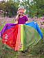 cheap Girls' Dresses-Kids Toddler Girls' Sweet Cute Color Block Solid Colored Patchwork Short Sleeve Maxi Dress Fuchsia