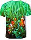 baratos Camisetas & Regatas Masculinas-Homens Camiseta Estampado, 3D Verde