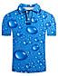 cheap Men's Polos-Men's Golf Shirt Graphic 3D Plus Size Print Short Sleeve Daily Tops Streetwear Exaggerated Shirt Collar Blue