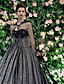 cheap Wedding Dresses-Ball Gown Wedding Dresses V Neck Court Train Lace Tulle Long Sleeve Formal Black with Draping Lace Insert 2020
