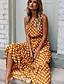 cheap Print Dresses-Women's Swing Dress Maxi long Dress Yellow Navy Blue Black Khaki Green Sleeveless Polka Dot Polka Dots Summer Round Neck Elegant Casual 2021 S M L XL XXL / Going out
