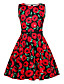 cheap Girls' Dresses-Kids Girls' Vintage Cute Plants Floral Patchwork Print Sleeveless Above Knee Dress Red