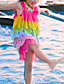 cheap Girls' Dresses-Kids Girls' Cute Red Color Block Rainbow Backless Layered Ruched Sleeveless Above Knee Dress Fuchsia