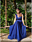 cheap Evening Dresses-A-Line Elegant Blue Prom Formal Evening Dress V Neck Sleeveless Sweep / Brush Train Lace Tulle with Tier Appliques 2020