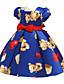 cheap Girls' Dresses-Kids Toddler Girls' Basic Cute Cartoon Print Short Sleeve Knee-length Dress Blue