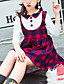 cheap Girls' Dresses-Kids Girls' Cute Red Color Block Check Lace up Patchwork Long Sleeve Above Knee Dress Purple