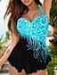 cheap Plus Size Swimwear-Women's Two Piece Tankini Swimsuit Slim Tummy Control Halter Color Block Swimwear Bathing Suits Blue Blushing Pink / Padded Bras