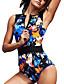 cheap Athletic Swimwear-Women's One Piece Swimsuit Floral / Botanical Padded Swimwear Swimwear Blue UV Sun Protection Breathable Quick Dry Sleeveless - Swimming Water Sports Summer / Elastane / High Elasticity