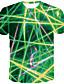 levne Pánská tílka-Pánské Větší velikosti Tričko Abstraktní Grafika Tisk Krátký rukáv Tops Kulatý Bílá Fialová Trávová zelená / Léto
