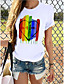 cheap Women's T-shirts-Women's T-shirt Rainbow Graphic Prints Print Round Neck Tops 100% Cotton Basic Basic Top Butterfly White Black