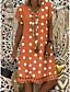 cheap Print Dresses-Women's Plus Size Shift Dress Knee Length Dress - Short Sleeve Polka Dot Print Summer V Neck Casual Holiday Vacation 2020 Black Blue Red Yellow Orange Khaki Green Gray S M L XL XXL XXXL XXXXL XXXXXL