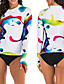 cheap Wetsuits, Diving Suits & Rash Guard Shirts-Women's Rashguard Swimsuit Swimwear Breathable Quick Dry Long Sleeve 2-Piece - Swimming Surfing Water Sports 3D Print Summer / Stretchy