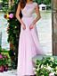 cheap Evening Dresses-A-Line Elegant Engagement Formal Evening Dress Jewel Neck Sleeveless Floor Length Chiffon Lace with Pleats Appliques 2020