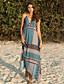 cheap For Young Women-Women's Sundress Midi Dress - Sleeveless Print Summer Casual Slim 2020 Blue M L XL XXL