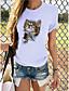 cheap Women's T-shirts-Women's T-shirt Cat Graphic Print Round Neck Tops 100% Cotton Basic Basic Top Dark Brown Lace Panda Cat