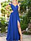 cheap Prom Dresses-A-Line Empire Sexy Wedding Guest Prom Dress V Neck Short Sleeve Floor Length Chiffon with Pleats Split 2020