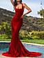 cheap Evening Dresses-Mermaid / Trumpet Elegant Beautiful Back Engagement Formal Evening Dress Scoop Neck Sleeveless Court Train Stretch Satin with Sleek 2020