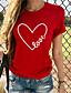 cheap Women's T-shirts-Women's T-shirt Graphic Round Neck Tops Basic Top Black Red Wine